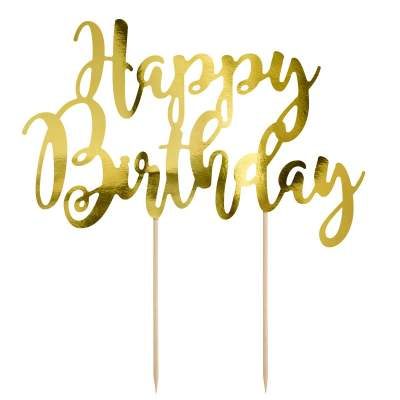 PartyDeco Cake Topper Happy - Birthday Gold