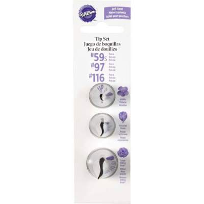 Wilton Decorating Tip Set Left Handed #59L, #97L, #116L